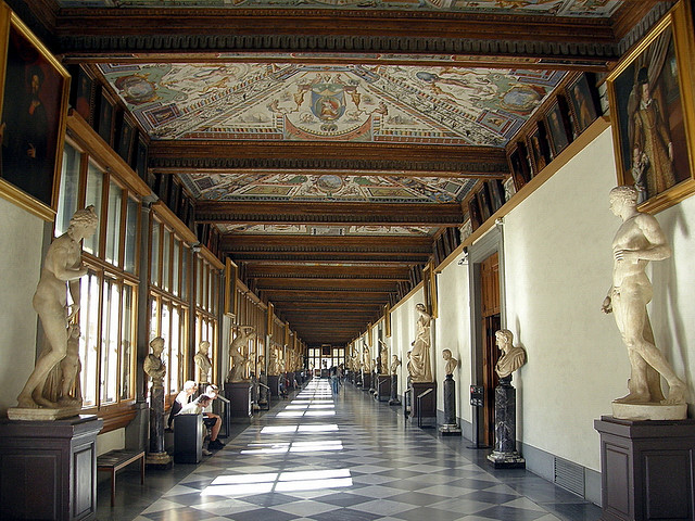A corridor in the Uffizi Gallery
