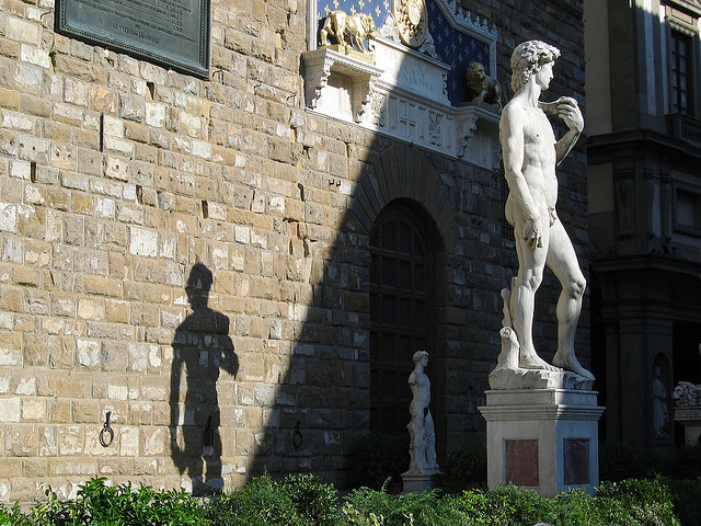 The David at the entrance of Palazzo Vecchio