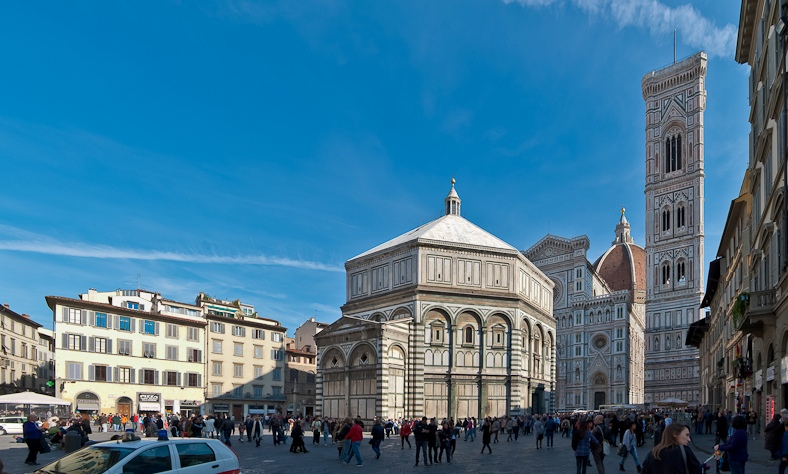 View of the Florence Baptistry in Piazza San Giovanni